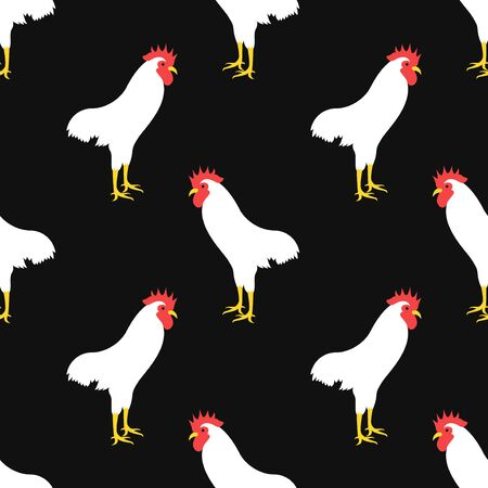 vector white chicken seamless pattern on black  イラスト・ベクター素材