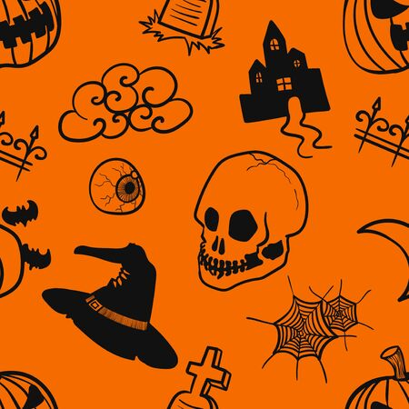 vector doodle halloween outlines seamless pattern on orange
