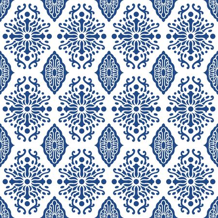 vector contemporary blue ethnic seamless pattern on white