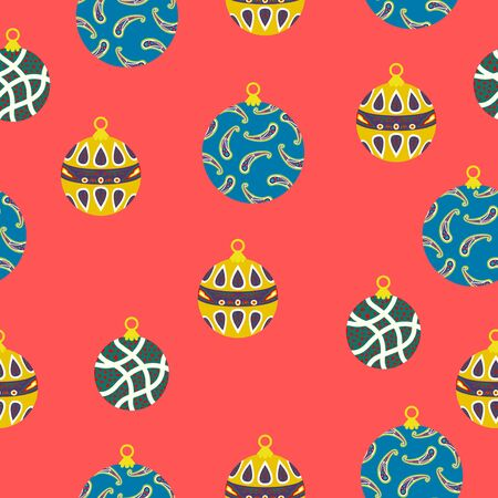 vector christmas ornament seamless pattern on red 写真素材 - 132825542