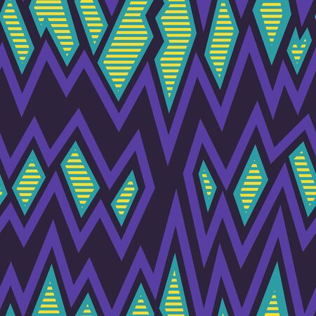 vector freeform shape and zigzag lines seamless pattern on dark violet
