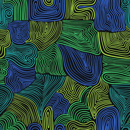 vector modern colorful doodle wooden lines seamless pattern on black 写真素材 - 132825574