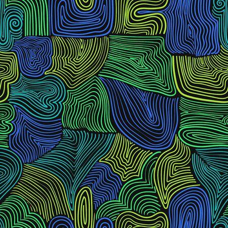 Vektor moderne bunte Doodle Holzlinien nahtlose Muster auf Schwarz