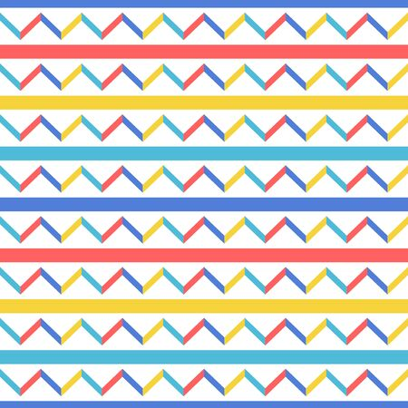 vector modern horizontal geometric and chevron seamless pattern on white