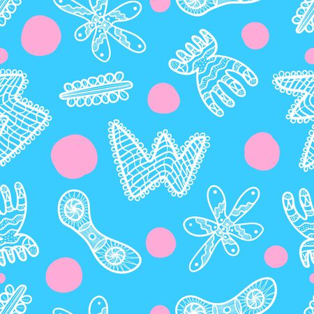 vector doodle white freeform shape and pink circle seamless pattern on light blue  イラスト・ベクター素材