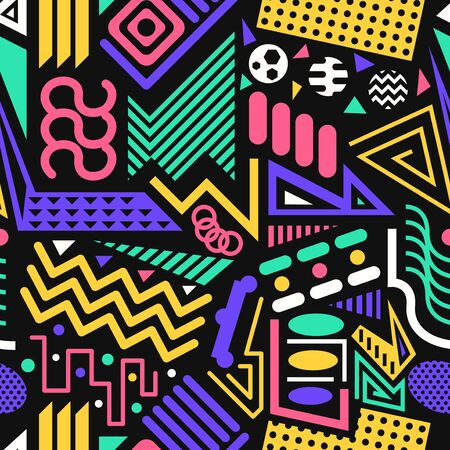 vector modern colorful geometric seamless pattern on black