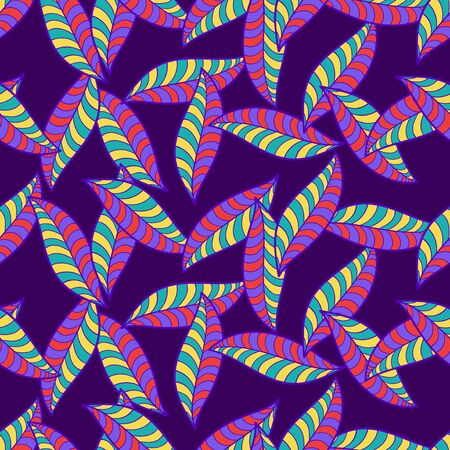 vector colorful leaves overlap seamless pattern on violet