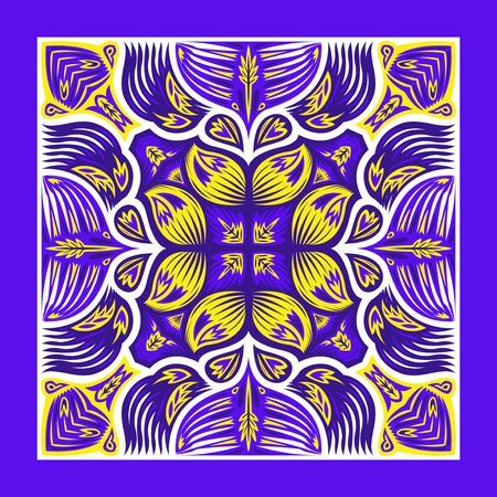 contemporary violet and yellow native floral pattern on white