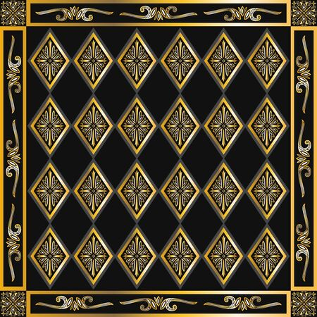 contemporary golden and black luxury vintage pattern 写真素材 - 132636641