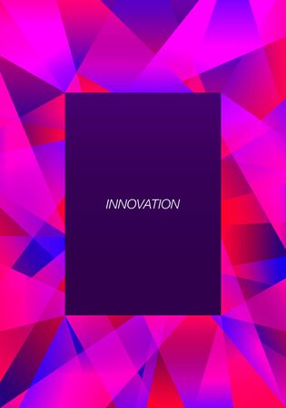 vector geometric freeform shape overlap frame pattern on violet background for brochure banner and publication  イラスト・ベクター素材