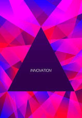 vector geometric freeform shape overlap triangle frame pattern on violet background for brochure banner and publication  イラスト・ベクター素材