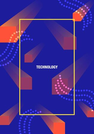 vector modern geometric block and chains network connection for brochure banner and publication 写真素材 - 132724313