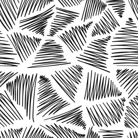vector black doodle zigzags seamless pattern on white