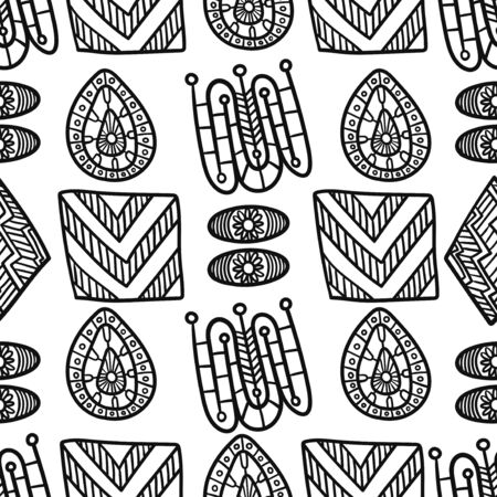 vector black doodle geometric freeform seamless pattern on white  イラスト・ベクター素材