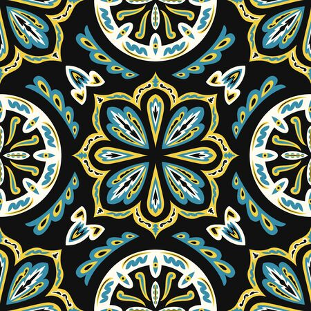 contemporary floral vintage pattern on black  イラスト・ベクター素材