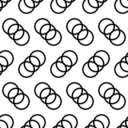 vector modern black three ring overlap seamless pattern on white  イラスト・ベクター素材