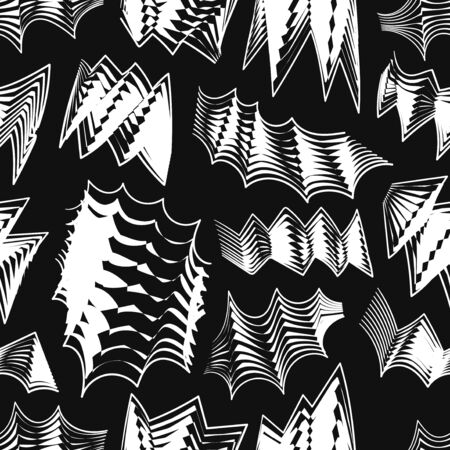 vector modern doodle drawing white freeform shape lines seamless pattern on black