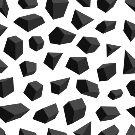 vector modern black geometric stone seamless pattern on white  イラスト・ベクター素材