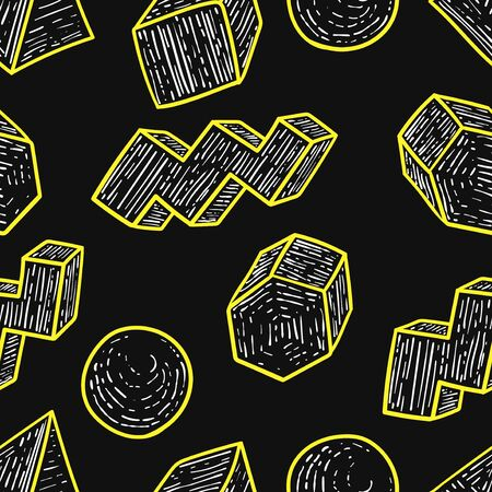 vector doodle geometric wood outlines seamless pattern on black