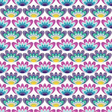 vector colorful floral overlap seamless pattern