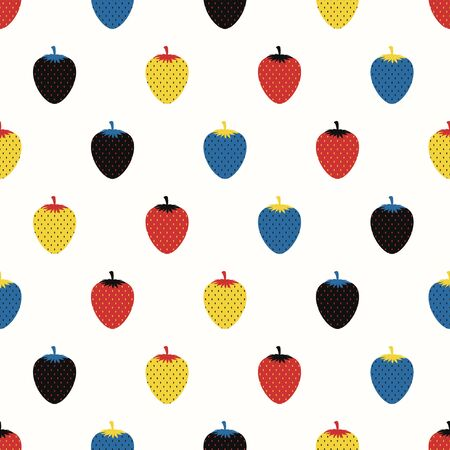 vector colorful strawbery seamless pattern on cream  イラスト・ベクター素材