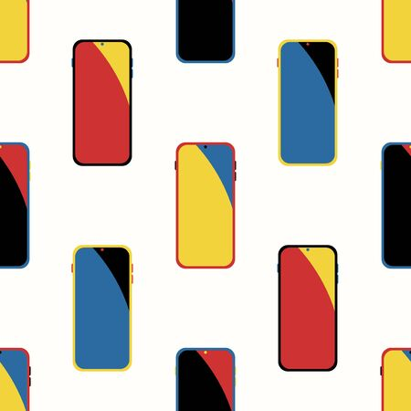 vector modern colorful smartphone seamless pattern on cream