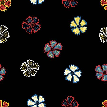 vector colorful floral seamless pattern on black