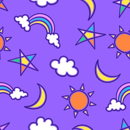 vector doodle cute weather icon seamless pattern on purple  イラスト・ベクター素材