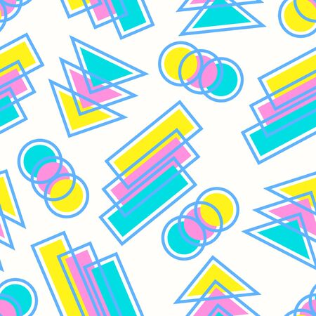 vector colorful geometric and outlines seamless pattern on white