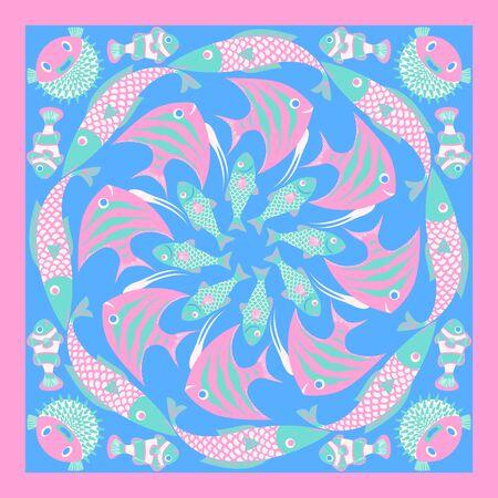 modern cute variety fish pattern on blue Foto de archivo - 134559526