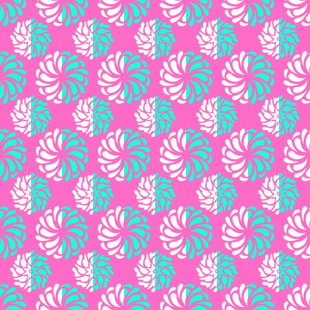 vector white and green swirl floral seamless pattern on pink