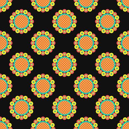 vector modern sun flower seamless pattern on black