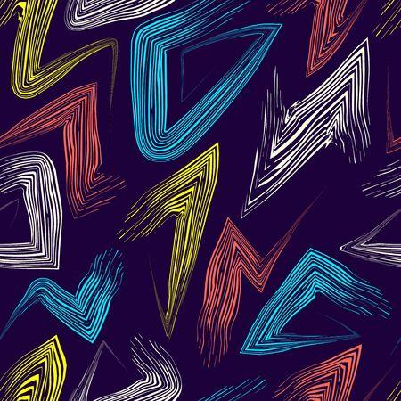 Peinture colorée de vecteur brosse zigzag modèle sans couture sur bleu foncé