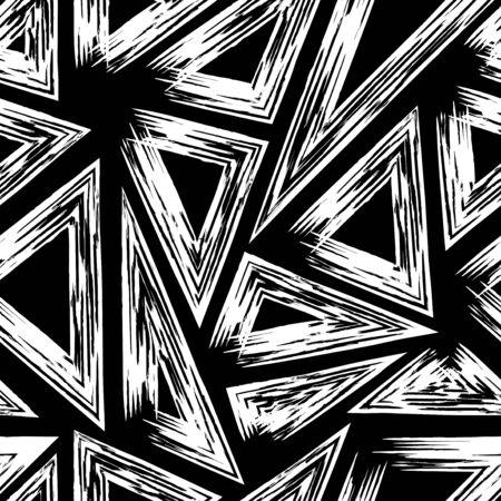 Vektor-weiße Multi-Dreieck-Grunge-Linien Malerei Pinsel nahtlose Muster auf Schwarz