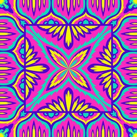 contemporary colorful native floral pattern Illusztráció
