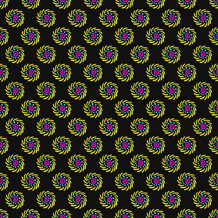 vector colorful swirl native seamless pattern on black
