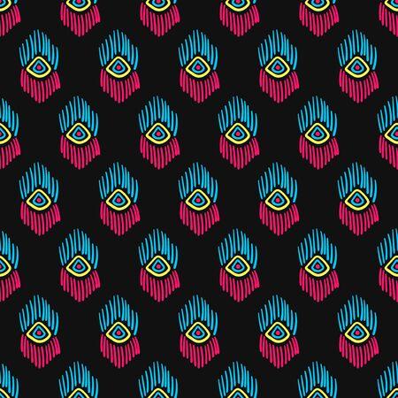vector colorful native seamless pattern on black Illusztráció