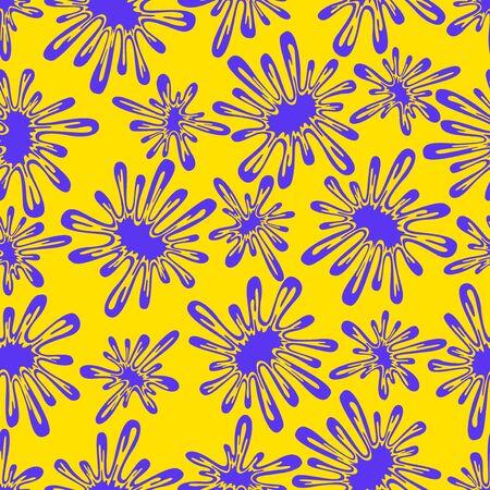 vector modern blue and yellow splash shape seamless pattern