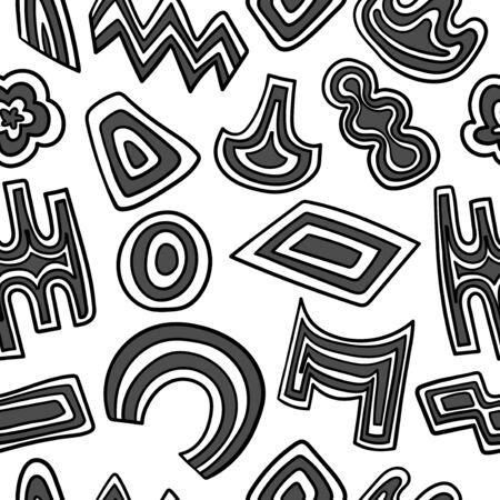 vector black and white freeform shape seamless pattern Illusztráció
