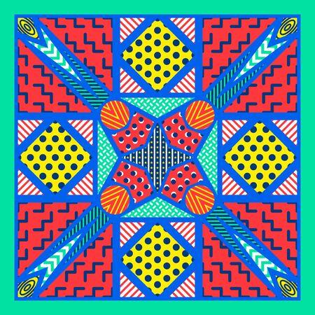 modern colorful geometric pattern on blue