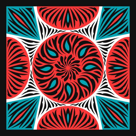 contemporary green red and black geometric pattern on white