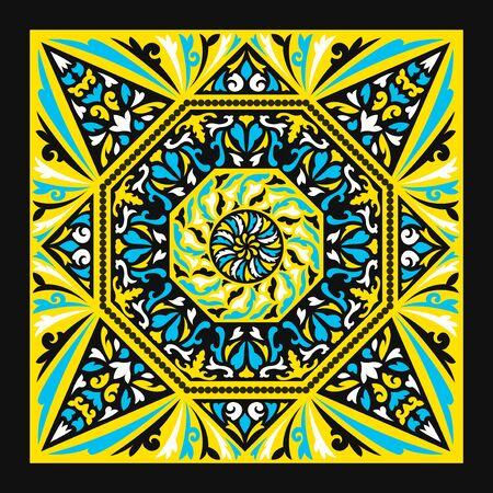 contemporary baroque pattern on yellow Illusztráció