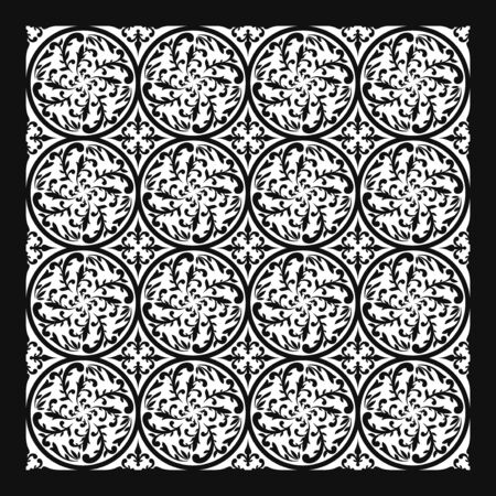 contemporary multi black floral and leaves circle pattern on white