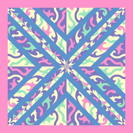 contemporary violet and cream cross pattern on blue