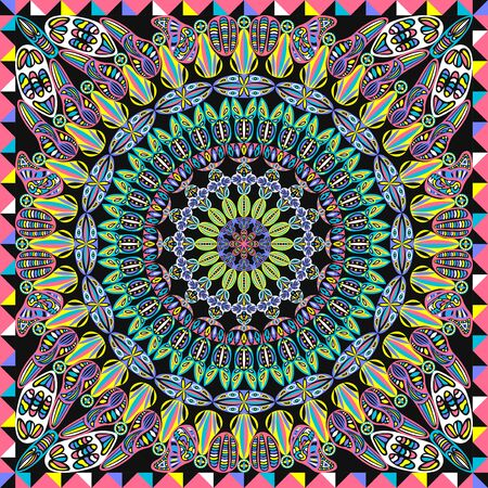 contemporary colorful native and rotation pattern on black