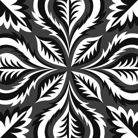 modern contemporary switching black and white leaves pattern on grey Stock Illustratie