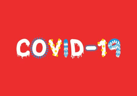 covid-19 font on red background