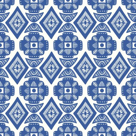 vector blue ethnic square rhombus and crescent moon seamless pattern on white Vecteurs