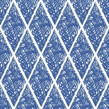 vector blue ethnic multi rough rhombus seamless pattern on white