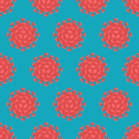 vector red coronavirus covid19 seamless pattern on green